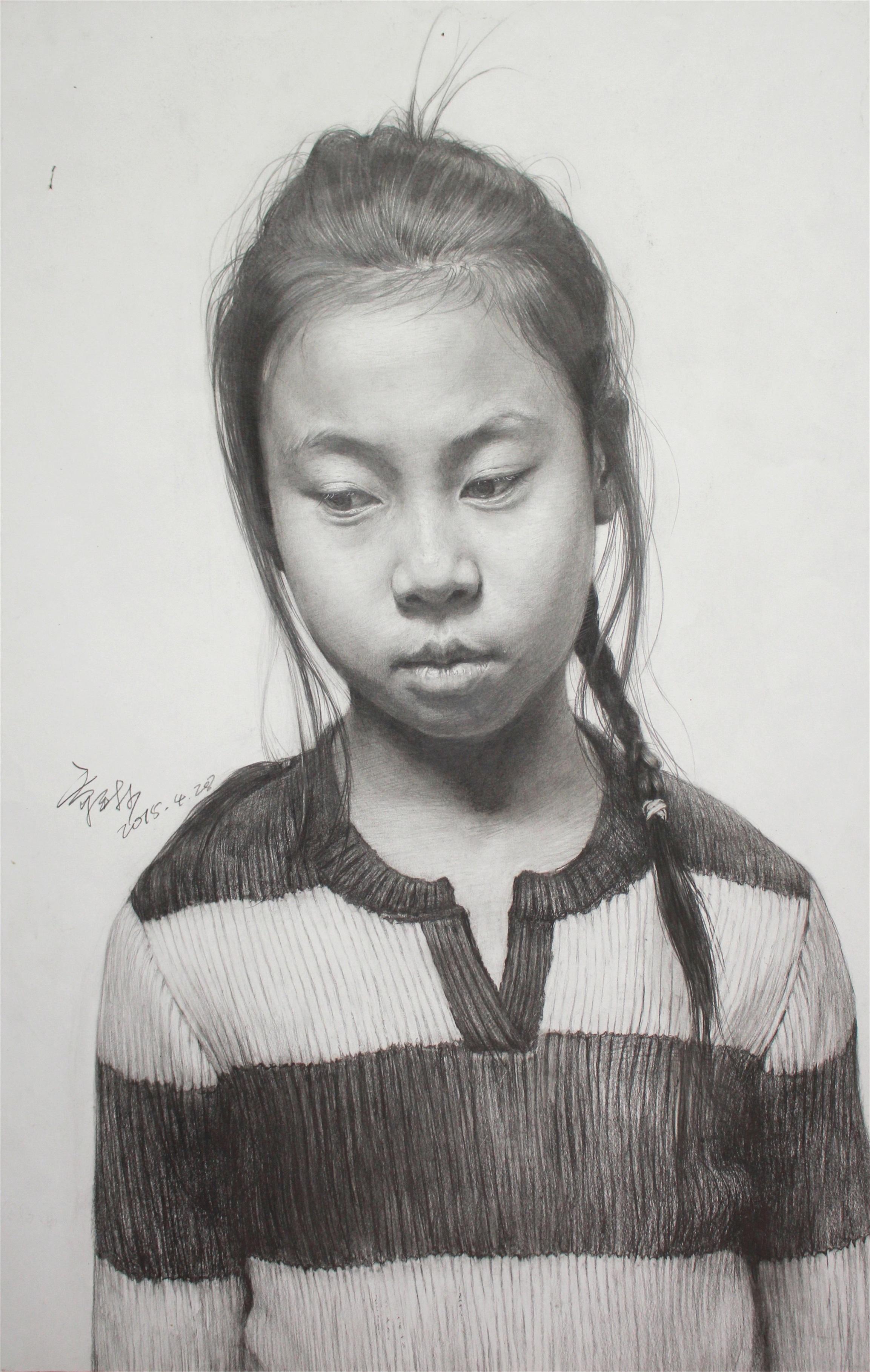 美术高考作品小女孩扎辫子素描头像赏析