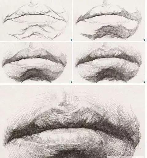 头像素描五官中嘴唇技法教学